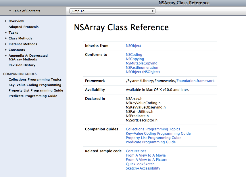 NSArray Class Reference